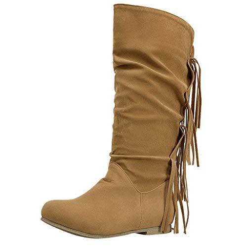 Boots Stiefeletten Damen Langschaft Stiefel Einfarbige Biker Vintage Overknee Stiefel Cowboy Stiefel mit Reißverschluss Mode-Stiefel mit Blockabsatz Modische Motorradstiefel aus Leder Winterstiefel