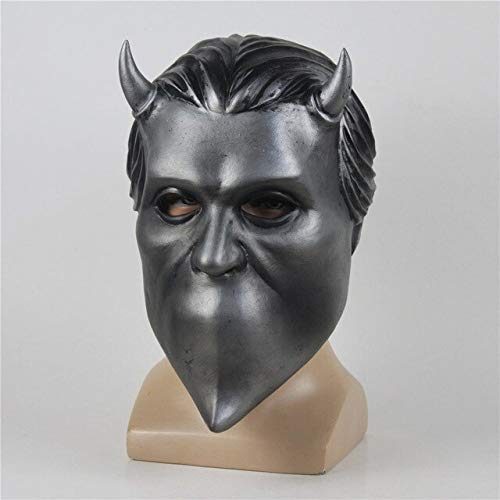 WasJmu Adult Ghost BC Band Nameless Ghoul Latex Mask Cosplay Costume Funny Scary Full Face Masks Prop Halloween Party for Men,Silver