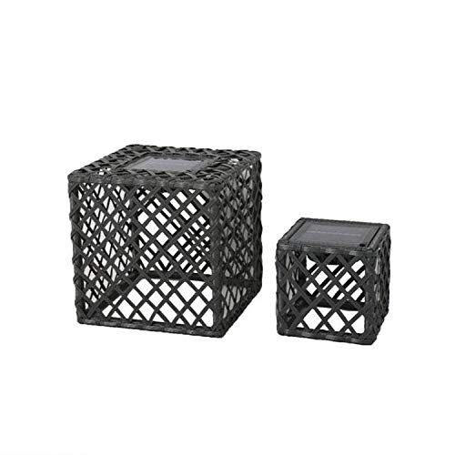 LOUY Set of 2 LED Solar Cube Lanterns in Grey Polyrattan Warm White Height 26cm and Height 16cm