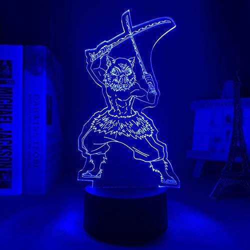 3D noche light3d llevó la luz de la noche Anime Demonio Slayer Kimetsu No Yaiba para la decoración del dormitorio manga regalo de cumpleaños Inosuke Hashibira llevó la lámpara 3D ASQWZX