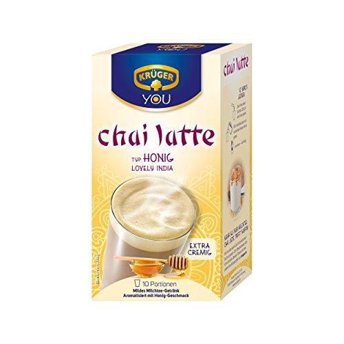 Krüger Chai Latte Lovely India, Honig-Geschmack, mildes Milchtee Getränk, 10 Portionsbeutel