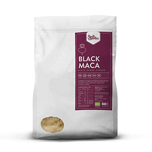 Black Maca Root Powder Peruvian Organic 1 Kg | SOUTH GARDEN | 100% Black Peruvian Maca | Sports Supplement | Vegan | Gluten Free | Dairy Free | No added Sugar