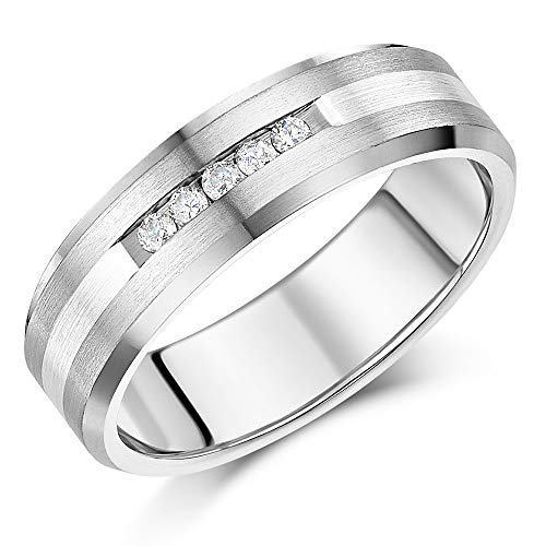 7mm Men's Diamond Engagement Ring Titanium and Silver Centre 5 Channel Set Diamond Unisex Ring 0.15ct (Y)