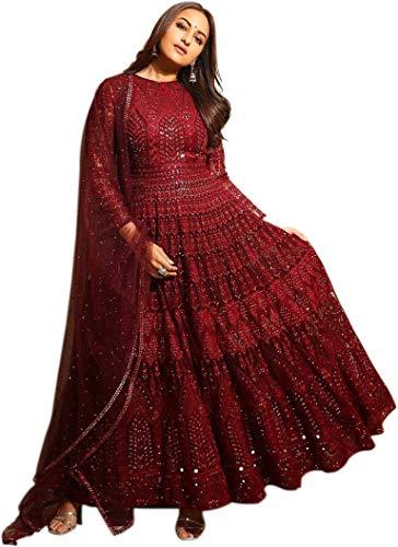 MFbotique Women's Net and Santoon Semi-stitched Salwar Suit (Maroon, Free...