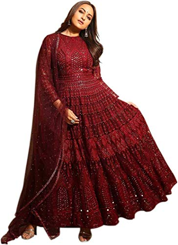 MFbotique Women's Net and Santoon Semi-stitched Salwar Suit (Maroon, Free Size)