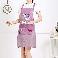 GLAUKS 家庭家事オイルと汚染除去防護服を調理2PCS / LOTファッション大人の無益なエプロンドレスキッチン エプロン (Color : Purple, UnitCount : 2PCS)