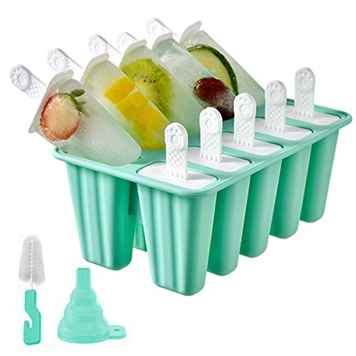 Popsicle Molds Silicone Ice Pop Mold, 10 Pieces BPA Free Popsicle Mold Reusable Easy Release Ice Pop Maker with Cleaning Brush and Funnel (Green, 10 Cavities)