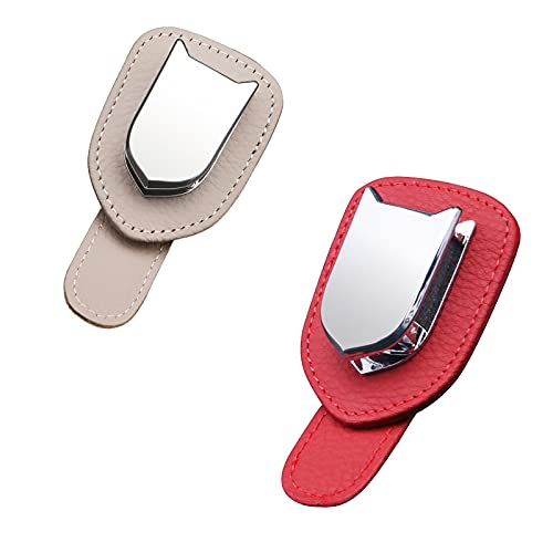 Xuptor 2 soportes para gafas de coche para visera de coche, clip para gafas, tarjetas, boletos, color beige