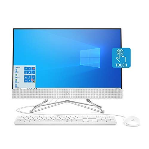 HP 24-inch All-in-One Touchscreen Desktop Computer, AMD Athlon Silver 3050U Processor, 4 GB RAM, 256 GB SSD, Windows 10 Home (24-df0030, White), Snow White (Renewed)