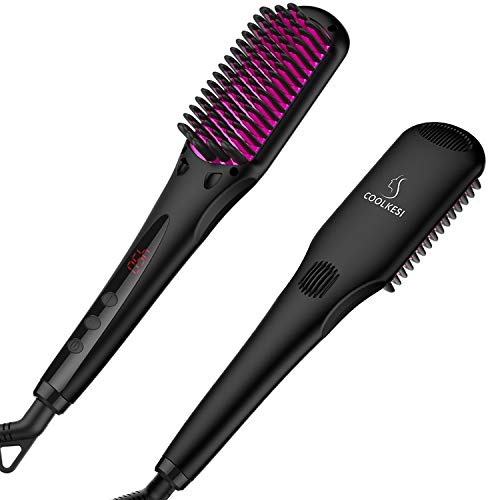 COOLKESI Ionic Hair Straightener Brush, Anti-scald Straightening Brush with Fast MCH Ceramic Heating, Adjustable Temperatures, Auto-Off & Dual Voltage, Portable Straightening Comb for Home, Travel