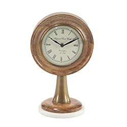 Deco 79 Modern Wood and Marble Round Table Clock, 5W x 12H, Bronze, White, Black