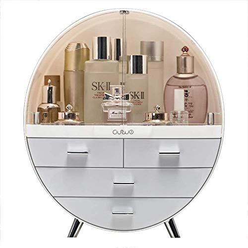 Home Fashion Drawer Makeup Storage Box Bathroom Brush Lipstick Holder Desktop Acrylic Jewelry Cosmetic Skin Care Organizer Rack (Large,Gray)