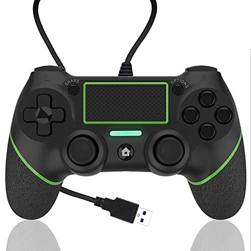 AQCTIM Mando para PS-4 Mando Cable para PS-4 Pro Slim Steam, Gamepad Cable Controlador Joystick con Vibración Doble(green)