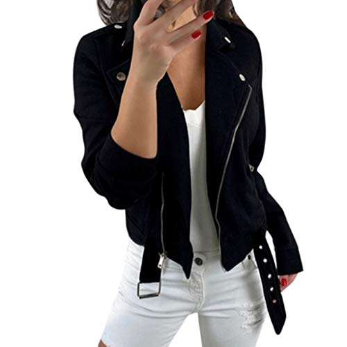 Lenfesh Faux Wildleder Jacken Frauen Damen PU Lederjacke Übergangsjacke Winterjacke Revers Reißverschluss Einfarbig Oberbekleidung Mit Gürtel