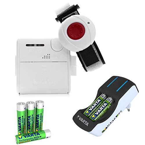 Helpline Mini: Kleiner mobiler Hausnotruf mit wasserdichtem Notrufarmband für die häusliche Pflege; Notrufsystem mit Funk Notruf Armband, Ladegerät und 4 Akkus