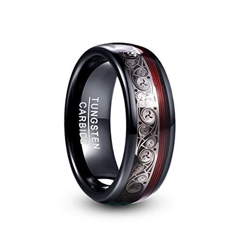 Vakki Herren Damen Ring Schwarz Wolfram Ring mit Spiralmuster und Roter Gitarrensaite Partner Ring Kuppel Comfort Fit Größe 59