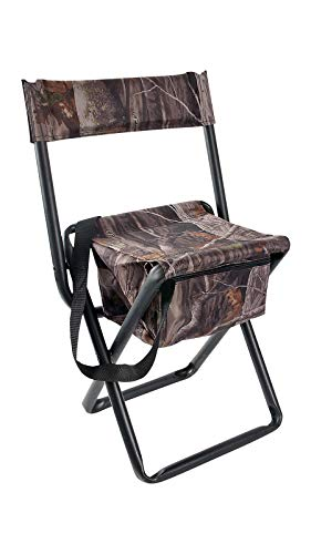 Allen Company Camouflage Folding Hunting Stool with Back and Storage - Strong Steel Legs - Next G2-14L x16.75W x 29H inches