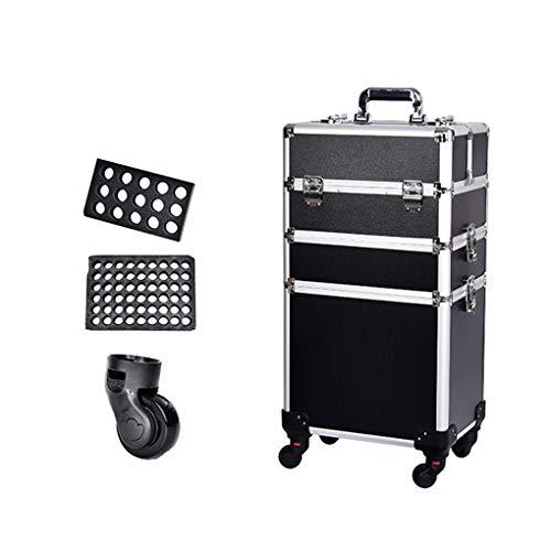 AOHMG 3 en 1 Portable Maquillage Valise Trolley, Aluminium Maquilleur Maquillage Valise De CosméTiques, avec poignée télescopique de Levage/Rod Roues 360 degreed,Black