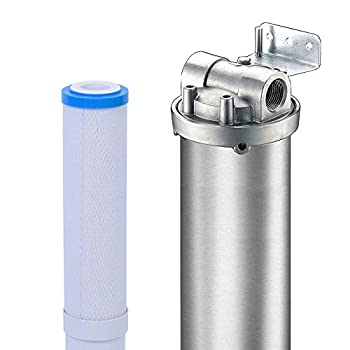 Hansing Whole House Water Softener System Alternative 3-Stage Pleated Hard Water Filter with Resisting Clogging Design Salt Free Solution and 304 Stainless Steel Housing for Household  3/4  FNPT