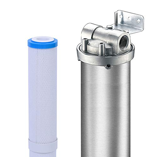 Hansing Whole House Water Softener System Alternative, 3-Stage Pleated Hard Water Filter with Resisting Clogging Design, Salt Free Solution and 304 Stainless Steel Housing for Household (3/4