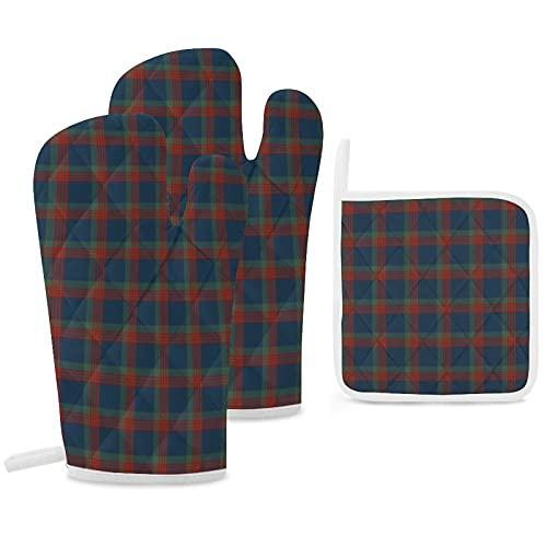 Lot de 3 maniques et maniques - Bleu vert et rouge - Wilson Clan écossais - Gants de cuisine antidérapants et réutilisables - Pour la...