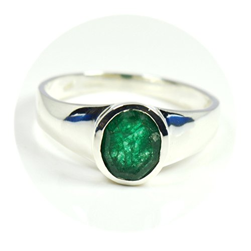 Gemsyogi Damen Herren Unisex - 0,925 Sterling-Silber 925 Oval Green Smaragd