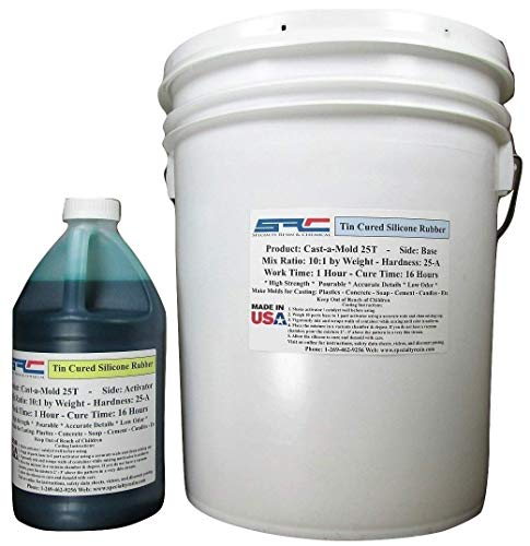 Cast-A-Mold 25T Rtv - Liquid Silicone Mold Making Rubber for Casting Resins, Epoxy and Polyurethane - 5 Gallon