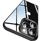 CASEKOO Crystal Clear Kompatibel für iPhone 13 Pro Hülle, [Nie Vergilbung] [Unzerstörbarer Militärschutz] Stoßfeste Kratzfeste Schutzhülle Transparent Hülle Dünne Handyhülle - Schwarz