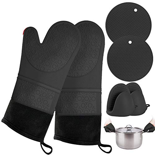 Black Oven Mitts and Pot Holder- Extra Long Silicone Oven Mitt Heat Resistant 500°F with 2 trivets & Mini Pinch Oven Mitts (250°F)-Food Safe Baking Gloves for Cooking in Kitchen with Soft Inner Lining