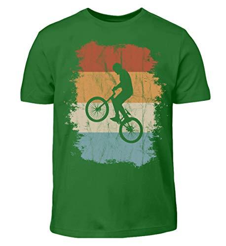 BMX Wheelie Retro Vintage Style - Für alle coolen Crossbike und Trickbike Radfahrer - Kinder T-Shirt -7/8 (122/128)-Kelly Green