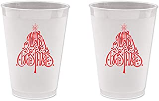 Mandeville Party Company Christmas Frost Flex Plastic Cups - Christmas Tree (10 Cups)