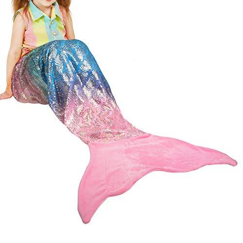 Catalonia Meerjungfrau Decke für Kinder Mädchen Erwachsene Meerjungfrauen Flosse Kuscheldecke Sofa Decken alle Jahreszeiten Schlafsack Fleecedecke zu Hause Outdoor, 155 x 48 cm