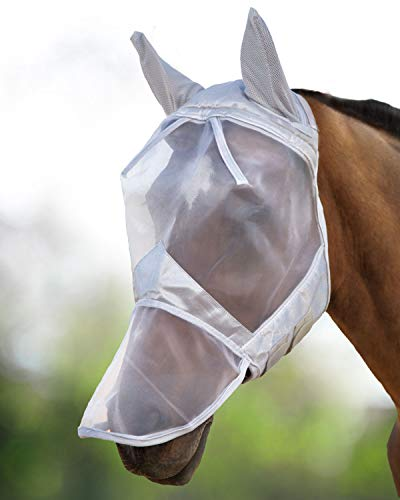 Harrison Howard CareMaster Maschera Anti-Mosche per Cavallo UV Protezione Pieno Volto Argento (M; COB)
