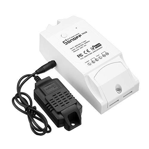 Sonoff TH16 Wi-Fi-Netzschalter zur Temperatur- und Feuchtigkeitsüberwachung für Heimwerker-Smart-Home-Geräte, drahtlose Fernbedienungsgeräte und zum Arbeiten mit Amazon Alexa 1-Set