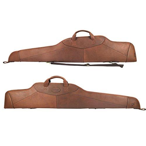 """Tourbon caccia tradizionale inglese-Custodia morbida in pelle per fucile 127,00 cm (50"""") Scoped-scivolo, con tracolla regolabile, colore: marrone"""