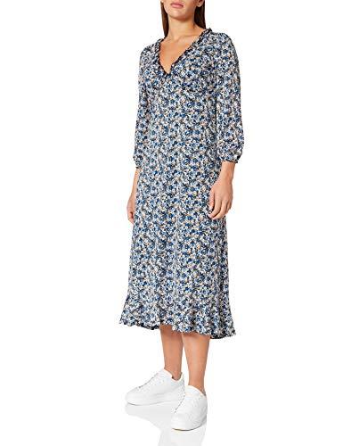 Springfield Vestido Midi Flores, Azul Claro, S para Mujer