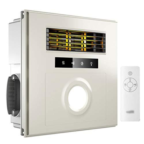 GXFC Decken Heizlüfter für Badezimmer mit Licht und Abluftventilator, Kleiner Badventilator, runde 3,5-W-LED-Beleuchtung, mit Fernbedienung