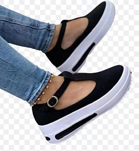 2021 Damen Sandalen Frühling Sommer Frauen Runde Zehe Flache Schuhe Neue Damen Plattform Freizeitschuhe Party Nette Weibliche Vulkanisierte Schuhe,Schwarz,38