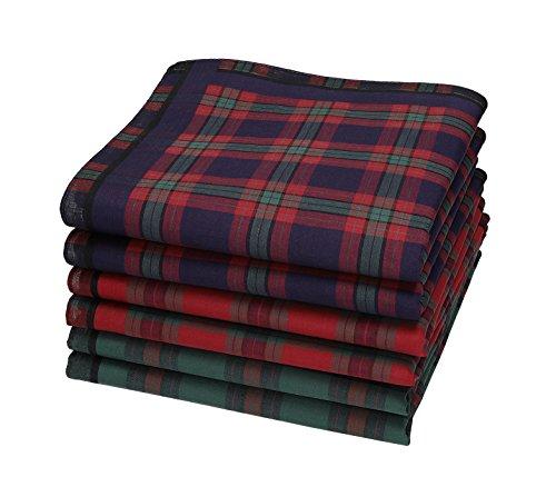 Betz 6 Stück Herren Stoff Taschentücher Set Leo 1 Dessin 05 100% Baumwolle Größe 40 x 40 cm