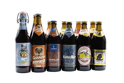 Bierwohl I Geschenkidee I Das Dunkle I Bierbox mit ausgewählten dunklen und Schwarzbieren aus Franken I 12 x 0,5l