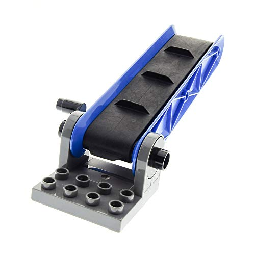 1 x Lego Duplo Förderband Typ2 blau Platte gedreht neu-dunkel grau schwarz Transport Gepäck Band Set 5609 4975 4987 45007 58084c01