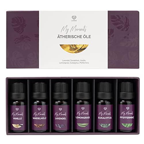 LoWell® 6 x 10ml Ätherische Öle Set - Ideal für Aroma Diffuser, Massage und Geschenkset - Lavendel, Eukalyptus, Vanille, Lemongrass, Sandelholz, Pfefferminz