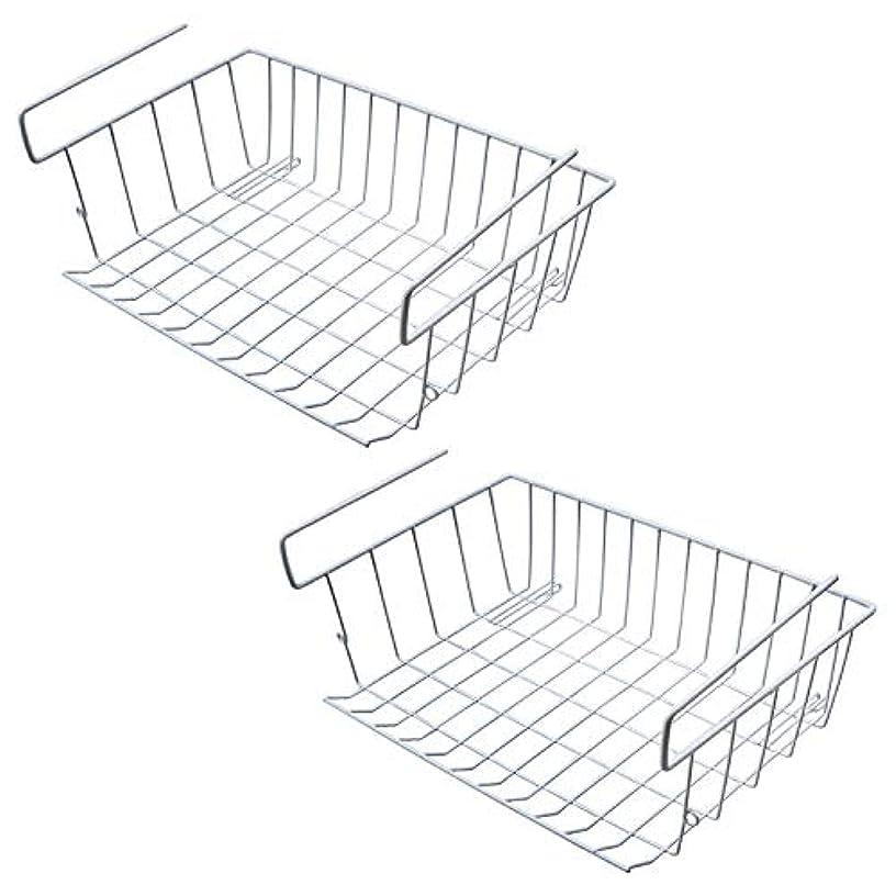TOOGOO Under Shelf Storage Basket, 2 Pcs Under Cabinet Storage Wire Basket Organizer Fit Dual Hooks for Kitchen Pantry Desk Bookshelf Cupboard (White)