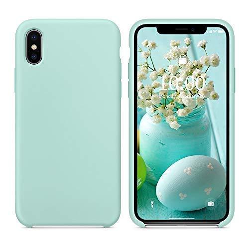 SURPHY Cover Compatibile con iPhone XS Max,Custodia per iPhone XS Max Silicone Cover Antiurto con Fodera in Microfibra, Anti Graffio Cover Case per iPhone XS Max 6.5 Pollici (2018), Verde Mare