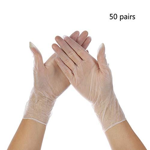 Ytgfd40 50 Paar industrielle Einweghandschuhe aus klarem Vinyl, kautschuklatexfrei, medizinische...