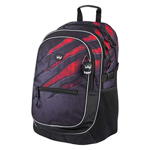 Baagl Schulrucksack für Jungen - Schulranzen für Kinder mit ergonomisch geformter Rücken, Brustgurt und reflektierende Elemente (Volcano)