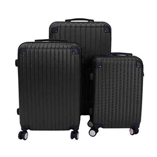 Suitcase Carry On Hand Cabin Luggage Trolley Hard Shell Travel Bag Lightweight Durable with 4 Spinner Wheels (Black,3 Pcs Set)