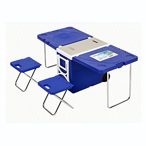 Mesa de Picnic Plegable, Refrigerador/Cubo de Hielo, Caja Más Fresca, Ruedas y Manijas Portátiles, Maleta con Ruedas para Acampar, Barbacoa de Picnic al Aire Libre,Blue