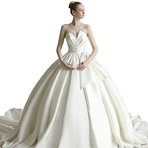 Elegante Vestido de Novia Vestido de Novia sin Tirantes con Tren Capilla...
