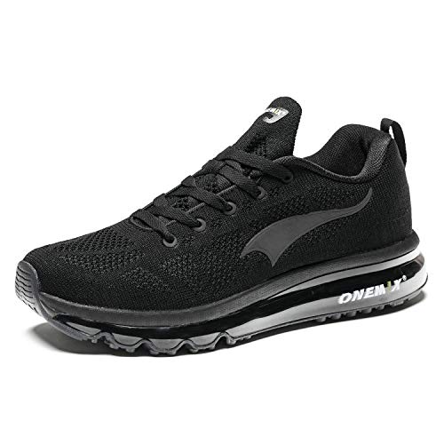 ONEMIX Laufschuhe Herren Sportschuhe Luftkissen Sneaker Straßenlaufschuhe Fitness Turnschuhe im Freien 1118B Black 40